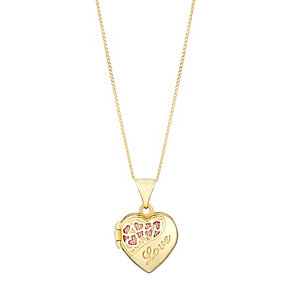 9ct Yellow Gold 10mm Love Detail Heart Locket - Product number 2646803