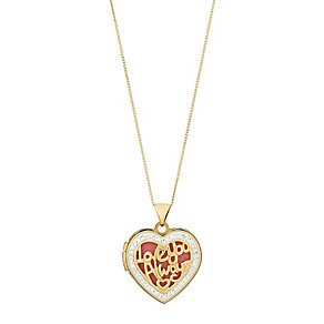 "9ct Yellow Gold Crystal Set Love You Always 18"" Heart Locket - Product number 2646811"