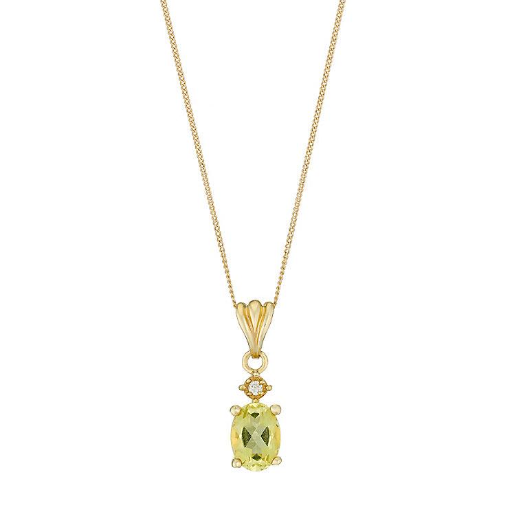 9ct Yellow Gold Lemon Quartz & Cubic Zirconia Oval Pendant - Product number 2646838