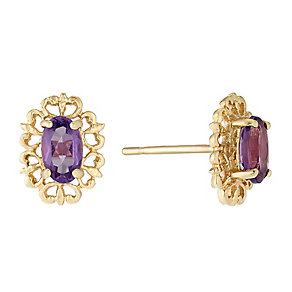 9ct Yellow Gold & Amethyst Oval Vintage Stud Earrings - Product number 2646854