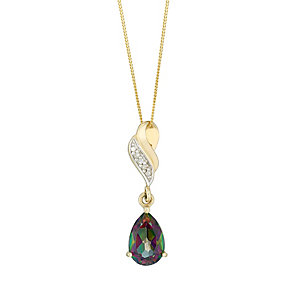 9ct Yellow Gold Mystic Topaz & Cubic Zirconia Drop Pendant - Product number 2646862