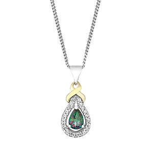 Silver & 9ct Gold Mystic Topaz & Cubic Zirconia Kiss Pendant - Product number 2646870