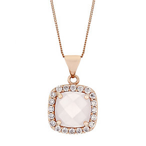 9ct Rose Gold Rose Quartz & Cubic Zirconia Halo Pendant - Product number 2646889