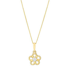 9ct Yellow Gold & Cubic Zirconia Daisy Flower Pendant - Product number 2646900