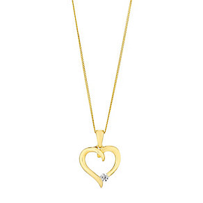"9ct Yellow Gold & Cubic Zirconia 18"" Heart Pendant - Product number 2646919"