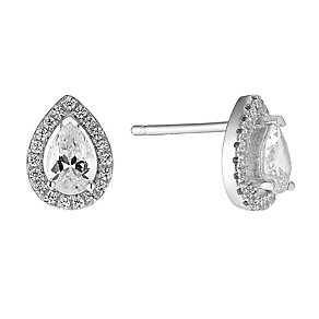 Rhodium Plated Sterling Silver Teardrop Halo Stud Earrings - Product number 2647028