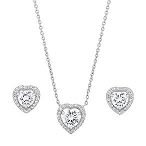 Sterling Silver Cubic Zirconia Heart Earring & Pendant Set - Product number 2647079