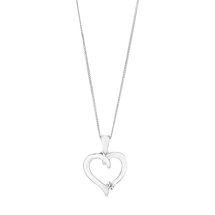 "9ct White Gold & Cubic Zirconia 18"" Heart Pendant - Product number 2647117"