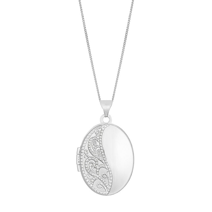 "9ct White Gold 18"" Engraved Oval Locket - Product number 2647141"