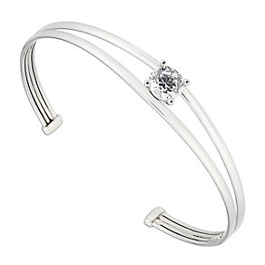 Rhodium Plated Silver & Cubic Zirconia Torque Bangle - Product number 2647176