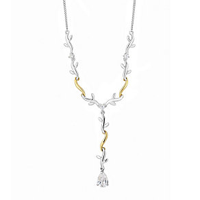 Silver & 9ct Yellow Gold Cubic Zirconia Collar Necklace - Product number 2647206