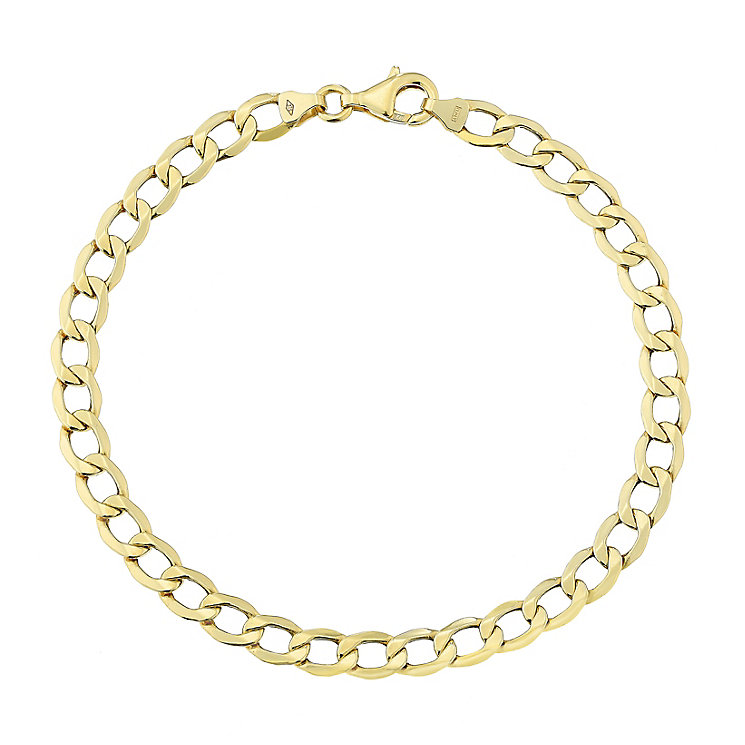 "9ct Yellow Gold 8"" Hollow Curb Chain - Product number 2647877"