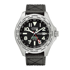 Citizen Eco-Drive black fabric strap watch - Product number 2647893