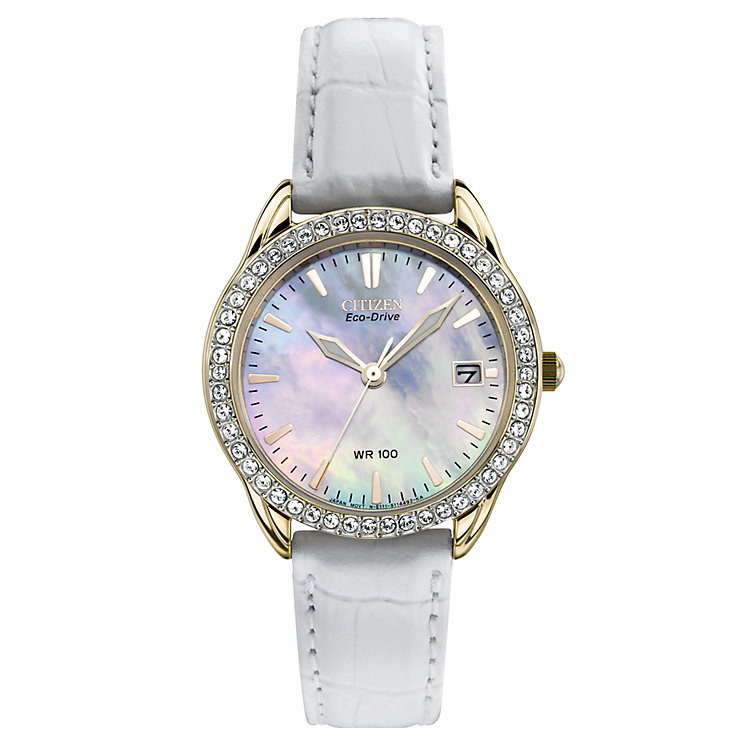 citizen eco drive ladies white leather strap watch
