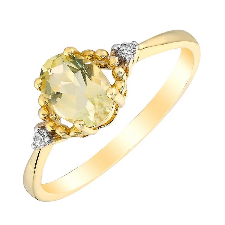 9ct Yellow Gold Lemon Quartz & Cubic Zirconia Ring - Product number 2647931