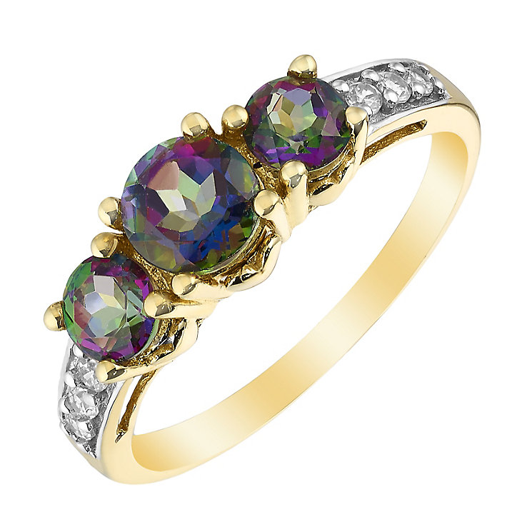 9ct Yellow Gold Mystic Topaz & Cubic Zirconia Trilogy Ring - Product number 2648083