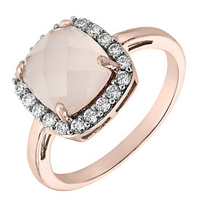 9ct Rose Gold Rose Quartz & Cubic Zirconia Halo Ring - Product number 2648385