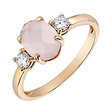 9ct Rose Gold Oval Rose Quartz & Cubic Zirconia Ring - Product number 2648520