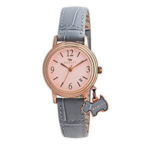 Radley Ladies' Rose Gold Plated Grey Leather Strap Watch - Product number 2648687