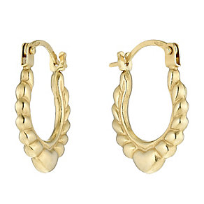 Children's 9ct Yellow Gold Heart Detail Creole Earrings - Product number 2648725