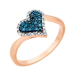 9ct Rose Gold Diamond & Treated Blue Diamonds Heart Ring - Product number 2649063