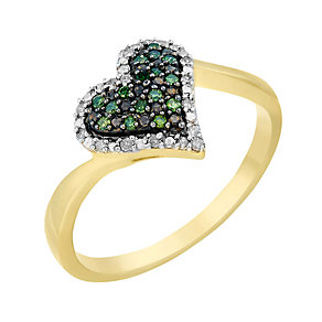 9ct Yellow Gold Diamond & Treated Green Diamonds Heart Ring - Product number 2649209