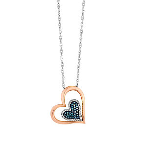 Silver & Rose Gold Diamond & Treated Blue Diamond Pendant - Product number 2649330
