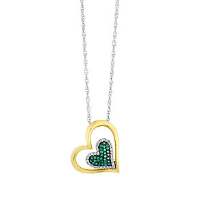 Silver & Yellow Gold Diamond & Treated Green Diamond Pendant - Product number 2649349