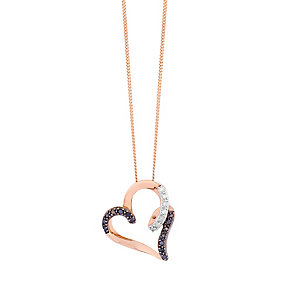 9ct Rose Gold Diamond & Treated Black Diamond Pendant - Product number 2649365