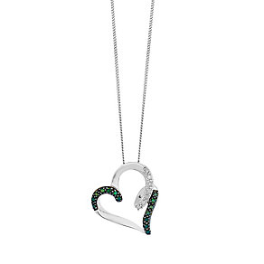 9ct White Gold Diamond & Treated Green Diamond Pendant - Product number 2649373