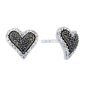 Silver Diamond & Treated Black Diamond Heart Earrings - Product number 2649381