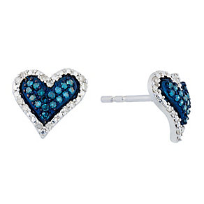 Silver Diamond & Treated Blue Diamond Heart Earrings - Product number 2649403