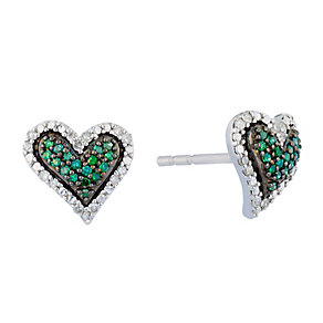 Silver Diamond & Treated Green Diamond Heart Earrings - Product number 2649411