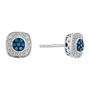 Silver Diamond & Treated Blue Diamond Square Earrings - Product number 2649438