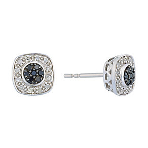 Silver Diamond & Treated Black Diamond Square Earrings - Product number 2649446