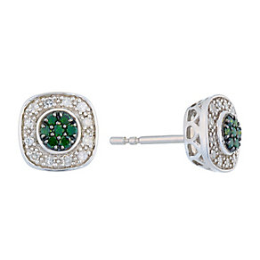 Silver Diamond & Treated Green Diamond Square Earrings - Product number 2649454