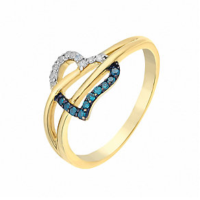 9ct Yellow Gold Diamond & Treated Blue Diamond Heart Ring - Product number 2649462