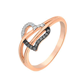 9ct Rose Gold Diamond & Treated Black Diamond Heart Ring - Product number 2649594