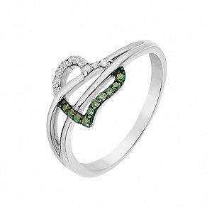9ct White Gold Diamond & Treated Green Diamond Heart Ring - Product number 2649713