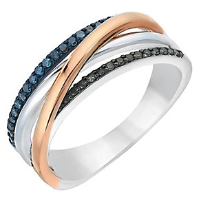 Silver & 9ct Rose Gold Treated Black & Blue Diamond Ring - Product number 2649845