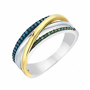 Silver & 9ct Yellow Gold Treated Green & Blue Diamond Ring - Product number 2649985