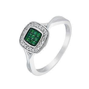 Silver Diamond & Treated Green Diamond Square Cluster Ring - Product number 2702673
