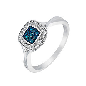 Silver Diamond & Treated Blue Diamond Square Cluster Ring - Product number 2703149
