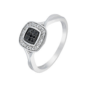 Silver Diamond & Treated Black Diamond Square Cluster Ring - Product number 2767120