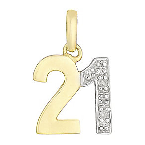 9ct Yellow Gold & Diamond 21 Charm - Product number 2767260
