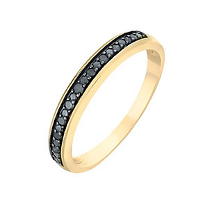 9ct Yellow Gold & Treated Black Diamond Eternity Ring - Product number 2767279