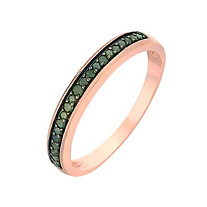 9ct Rose Gold & Treated Green Diamond Eternity Ring - Product number 2769115