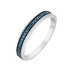9ct White Gold & Treated Blue Diamond Eternity Ring - Product number 2770067