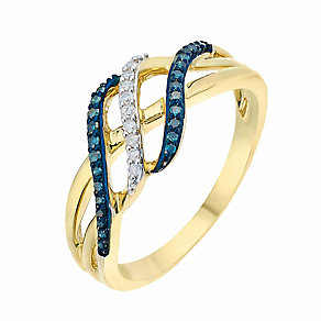 9ct Yellow Gold Diamond & Treated Blue Diamond Twist Ring - Product number 2770199