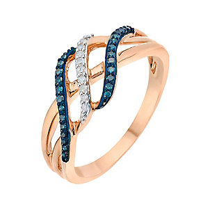 9ct Rose Gold Diamond & Treated Blue Diamond Twist Ring - Product number 2770334